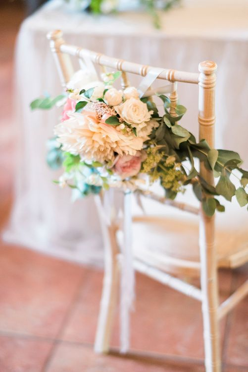 Pink & Coral Chair Back Wedding Flowers | Pink & Coral Country Wedding at Crabbs Barn, Essex | Kathryn Hopkins Photography | Film by Colbridge Media Services Ltd
