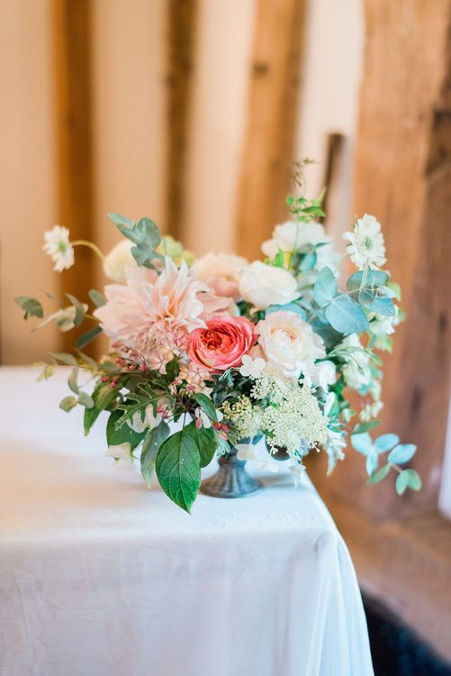 Pink & Coral Floral Arrangement | Pink & Coral Country Wedding at Crabbs Barn, Essex | Kathryn Hopkins Photography | Film by Colbridge Media Services Ltd