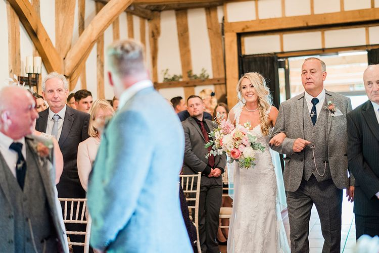 Wedding Ceremony | Bridal Entrance in Lace Enzoani 'Inaru' Bridal Gown | Groom in Grey Wool Master Debonair Suit | Pink & Coral Country Wedding at Crabbs Barn, Essex | Kathryn Hopkins Photography | Film by Colbridge Media Services Ltd