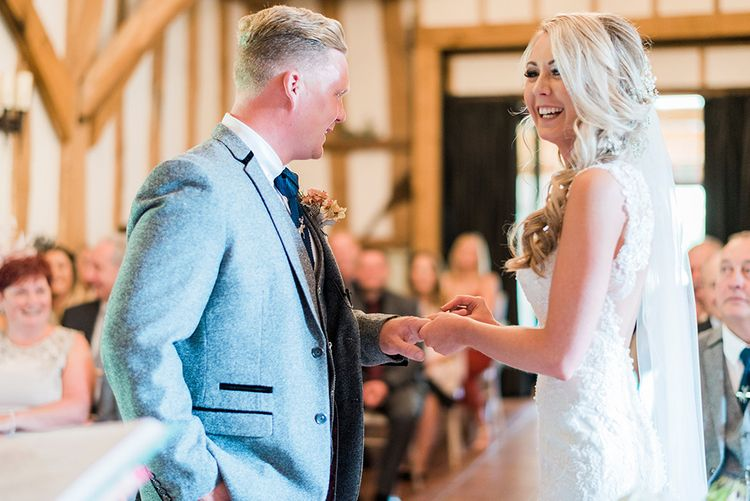 Wedding Ceremony | Bride in Lace Enzoani 'Inaru' Bridal Gown | Groom in Grey Wool Master Debonair Suit | Pink & Coral Country Wedding at Crabbs Barn, Essex | Kathryn Hopkins Photography | Film by Colbridge Media Services Ltd