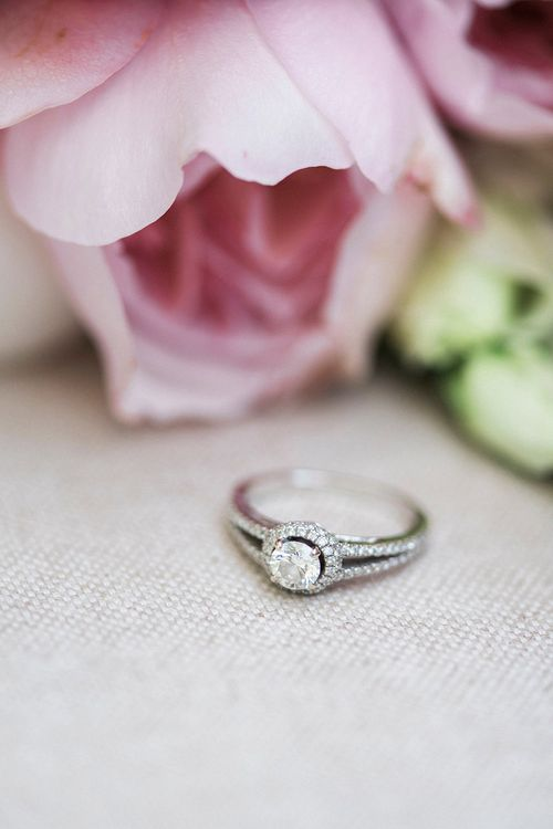 Diamond Engagement Ring | Pink & Coral Country Wedding at Crabbs Barn, Essex | Kathryn Hopkins Photography | Film by Colbridge Media Services Ltd