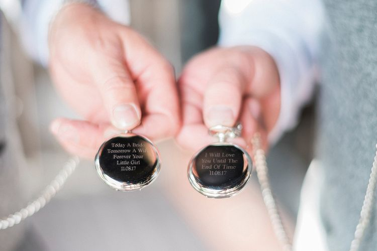 Engraved Pocket Watches | Pink & Coral Country Wedding at Crabbs Barn, Essex | Kathryn Hopkins Photography | Film by Colbridge Media Services Ltd