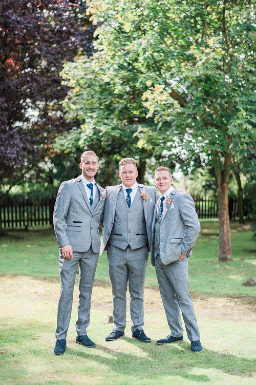 Groomsmen in Grey Wool Master Debonair Suits & Navy Ties | Pink & Coral Country Wedding at Crabbs Barn, Essex | Kathryn Hopkins Photography | Film by Colbridge Media Services Ltd