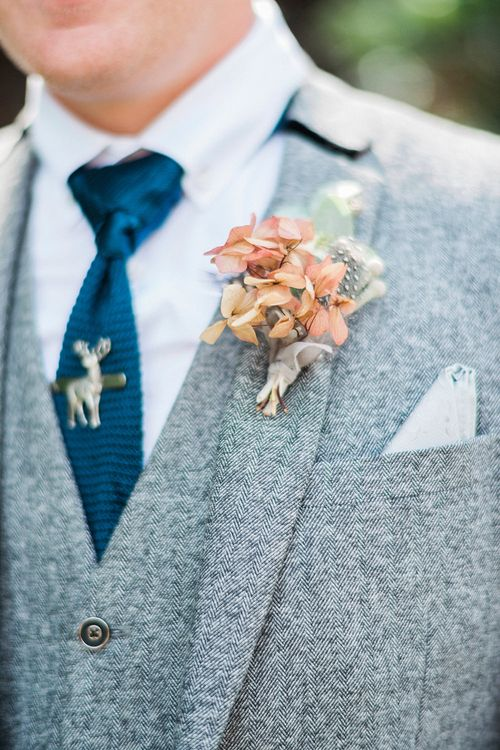 Groom in Grey Wool Master Debonair Suit | Buttonhole | Stag Tie Pink | Pink & Coral Country Wedding at Crabbs Barn, Essex | Kathryn Hopkins Photography | Film by Colbridge Media Services Ltd