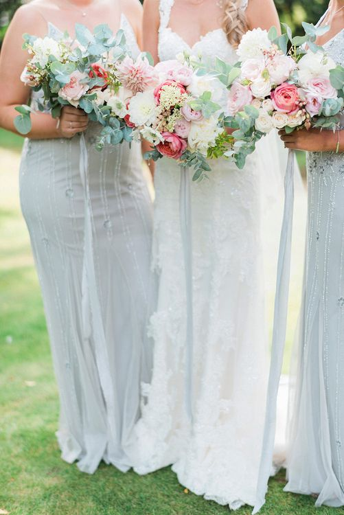 Romantic Pink & Coral Bouquets | Bride in Lace Enzoani 'Inaru' Bridal Gown | Bridesmaids in Grey Embellished ASOS Dresses | Pink & Coral Country Wedding at Crabbs Barn, Essex | Kathryn Hopkins Photography | Film by Colbridge Media Services Ltd