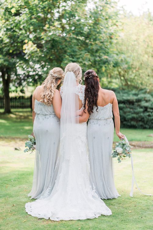 Bride in Lace Enzoani 'Inaru' Bridal Gown | Bridesmaids in Grey Embellished ASOS Dresses | Pink & Coral Country Wedding at Crabbs Barn, Essex | Kathryn Hopkins Photography | Film by Colbridge Media Services Ltd