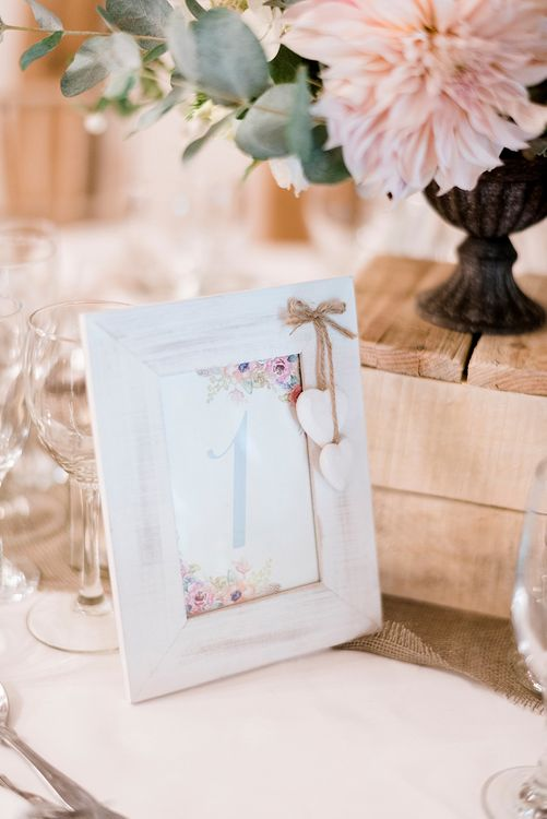 Pastel Wedding Stationery Table Number | Peach & Coral Country Wedding at Crabbs Barn, Essex | Kathryn Hopkins Photography | Film by Colbridge Media Services Ltd