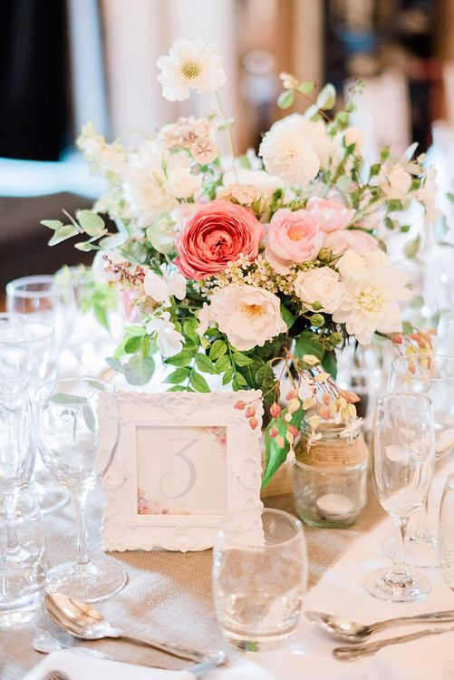 Romantic Table Centrepiece Florals & Wedding Stationery | Peach & Coral Country Wedding at Crabbs Barn, Essex | Kathryn Hopkins Photography | Film by Colbridge Media Services Ltd
