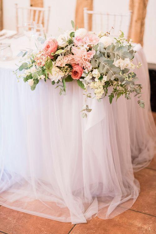 Blush Pink & Coral Wedding Flowers | Romantic Peach & Coral Floral Centrepiece | Peach & Coral Country Wedding at Crabbs Barn, Essex | Kathryn Hopkins Photography | Film by Colbridge Media Services Ltd