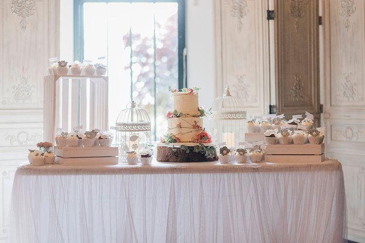 Wedding Cake Station | Romantic Peach & Coral Floral Centrepiece | Peach & Coral Country Wedding at Crabbs Barn, Essex | Kathryn Hopkins Photography | Film by Colbridge Media Services Ltd