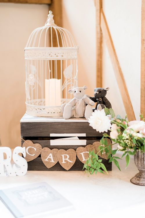 Bird Cage Wedding Card Box Wedding Decor | Romantic Peach & Coral Floral Centrepiece | Peach & Coral Country Wedding at Crabbs Barn, Essex | Kathryn Hopkins Photography | Film by Colbridge Media Services Ltd