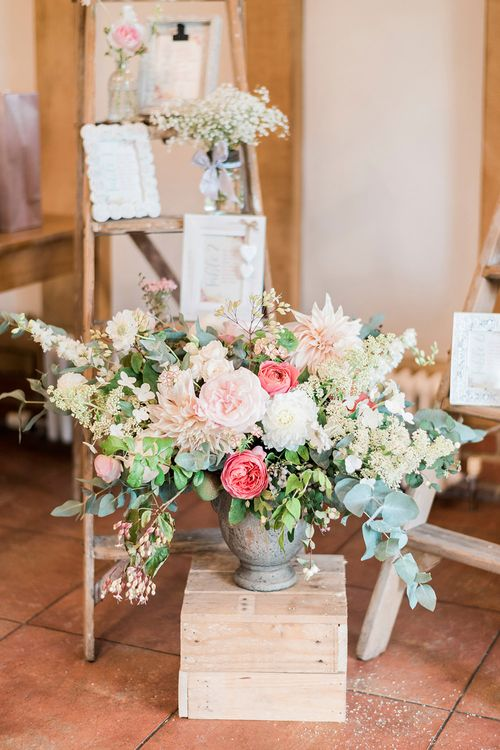 Vintage Step Ladder, Wooden Crate & Blush Floral Arrangement Wedding Decor | Romantic Peach & Coral Floral Centrepiece | Peach & Coral Country Wedding at Crabbs Barn, Essex | Kathryn Hopkins Photography | Film by Colbridge Media Services Ltd
