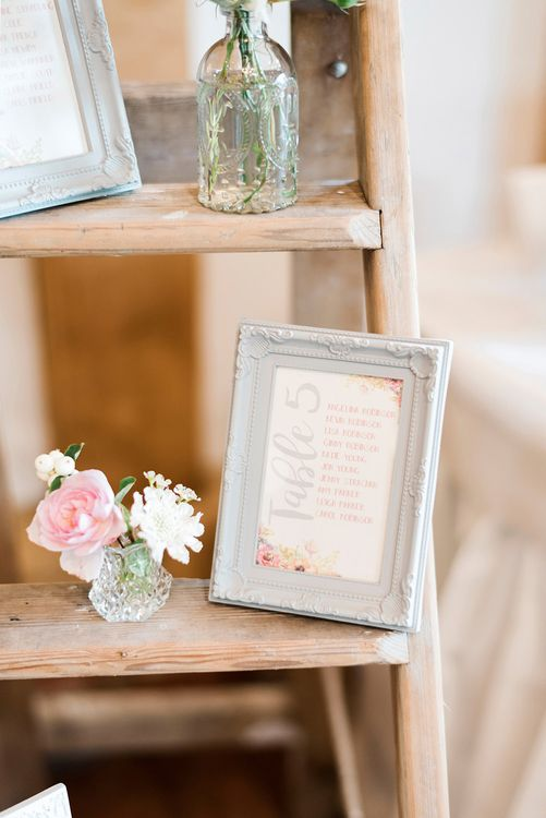 Vintage Step Ladder Table Plan with Romantic Wedding Stationery | Peach & Coral Country Wedding at Crabbs Barn, Essex | Kathryn Hopkins Photography | Film by Colbridge Media Services Ltd