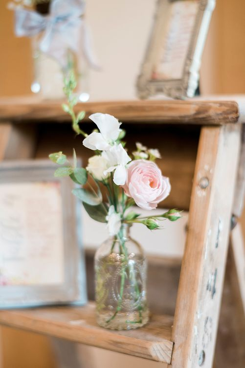Flower Stems in Bottles | Peach & Coral Country Wedding at Crabbs Barn, Essex | Kathryn Hopkins Photography | Film by Colbridge Media Services Ltd