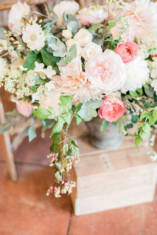 Pink & Coral Wedding Flowers | Peach & Coral Country Wedding at Crabbs Barn, Essex | Kathryn Hopkins Photography | Film by Colbridge Media Services Ltd