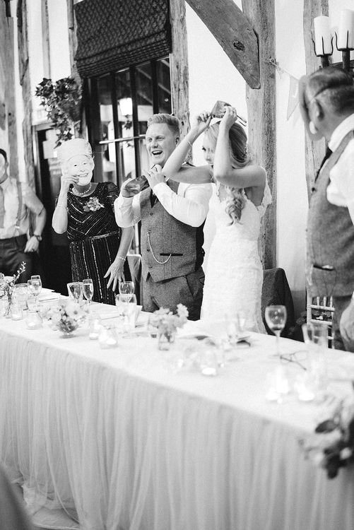 Wedding Speeches | Bride in Lace Enzoani 'Inaru' Bridal Gown | Peach & Coral Country Wedding at Crabbs Barn, Essex | Kathryn Hopkins Photography | Film by Colbridge Media Services Ltd