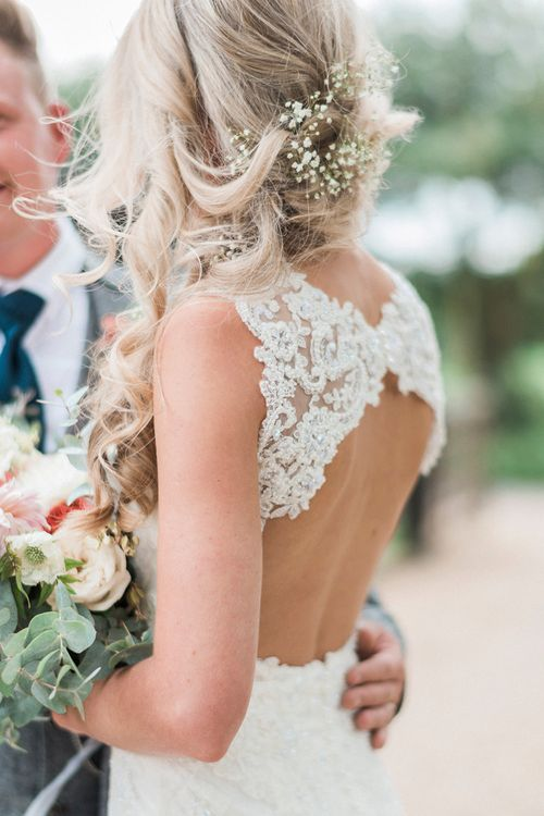 Bride in Lace Enzoani 'Inaru' Bridal Gown with Keyhole Back | Groom in Grey Wool Master Debonair Suit | Peach & Coral Country Wedding at Crabbs Barn, Essex | Kathryn Hopkins Photography | Film by Colbridge Media Services Ltd