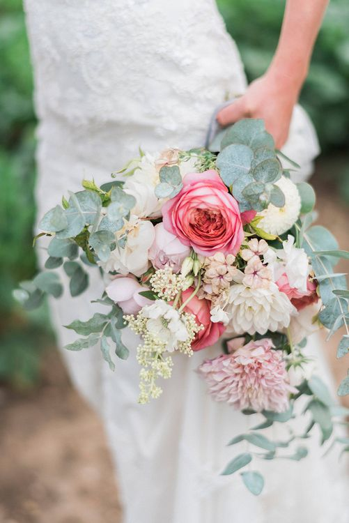Romantic Pink & Coral Bouquet with Roses & Dahlias | Bride in Lace Enzoani 'Inaru' Bridal Gown | Peach & Coral Country Wedding at Crabbs Barn, Essex | Kathryn Hopkins Photography | Film by Colbridge Media Services Ltd
