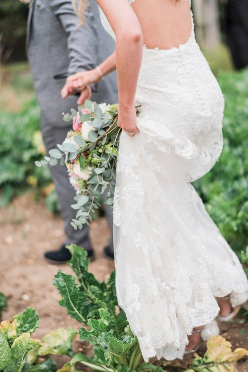 Bride in Lace Enzoani 'Inaru' Bridal Gown | Groom in Grey Wool Master Debonair Suit | Peach & Coral Country Wedding at Crabbs Barn, Essex | Kathryn Hopkins Photography | Film by Colbridge Media Services Ltd