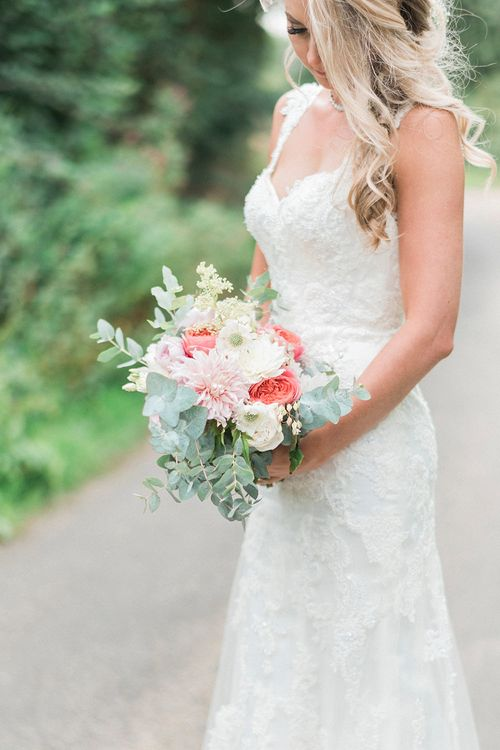 Bride in Lace Enzoani 'Inaru' Bridal Gown | Romantic Pink & Coral Bouquet with Roses & Dahlias | Peach & Coral Country Wedding at Crabbs Barn, Essex | Kathryn Hopkins Photography | Film by Colbridge Media Services Ltd