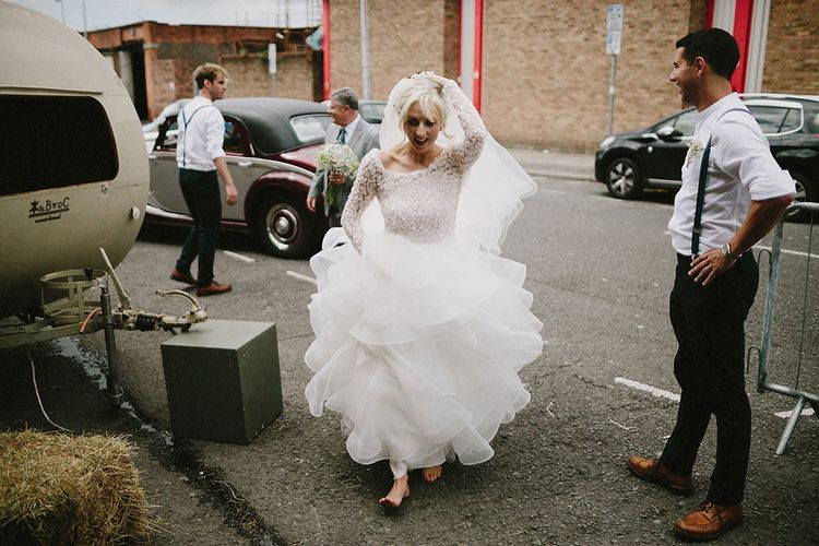 Bride In Big Ruffled Tulle Skirt