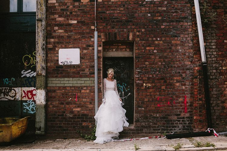 Bride With Big Ruffled Tulle Skirt