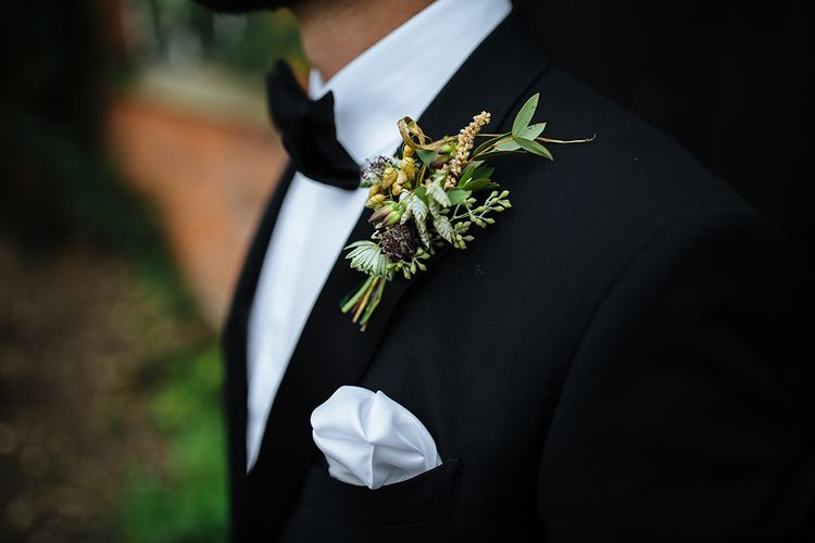 Groom in Herrvon Eden Tuxedo | Grooms Buttonhole | Tawny Photo