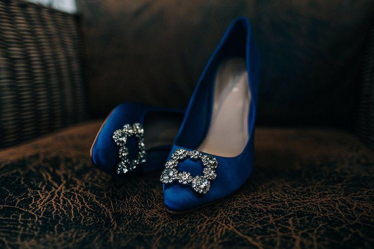 Blue Satin Manolo Blahnik Hangisi Pumps   Isles of Scilly Wedding   Jason Mark Harris Photography