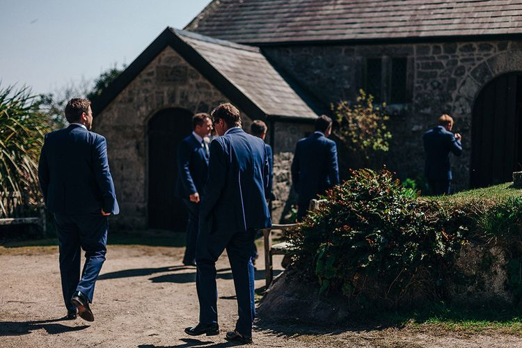 Groomsmen in Navy Ted Baker Suits   Isles of Scilly Wedding   Jason Mark Harris Photography