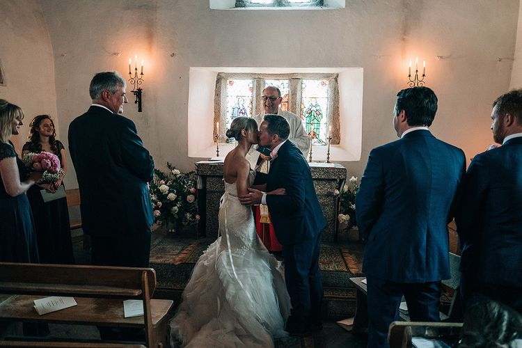 Wedding Ceremony   Bride in Pronovias Wedding Dress   Groom in Navy Ted Baker Suit   Isles of Scilly Wedding   Jason Mark Harris Photography