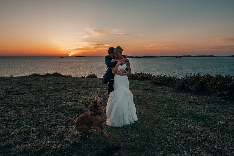 Sunset   Bride in Pronovias Wedding Dress   Groom in Navy Ted Baker Suit   Isles of Scilly Wedding   Jason Mark Harris Photography