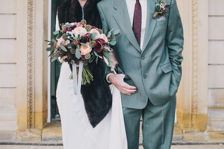 Autumnal Bride in Ghost With Faux Fur Wrap