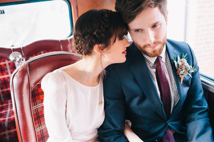 Bride & Groom Vintage Bus Wedding Transport