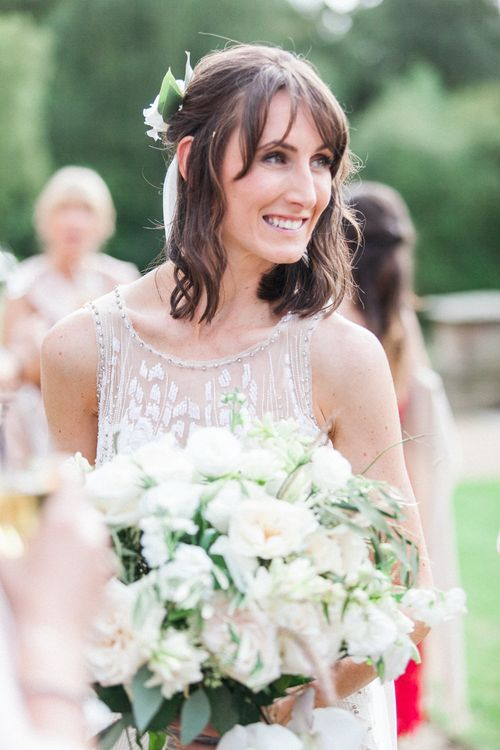 Bride in Hermia Jenny Packham Wedding Dress | Elegant Hampton Manor Wedding with Floral Decor | Xander & Thea Fine Art Wedding Photography