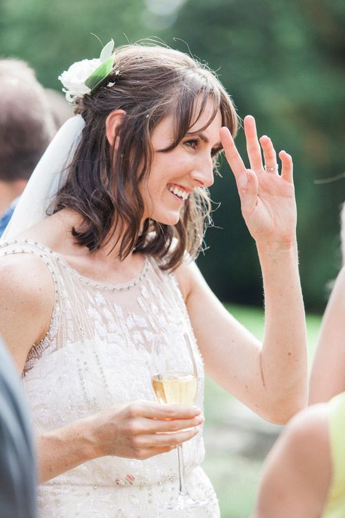 Bride in Hermia Jenny Packham Bridal Gown | Elegant Hampton Manor Wedding with Floral Decor | Xander & Thea Fine Art Wedding Photography