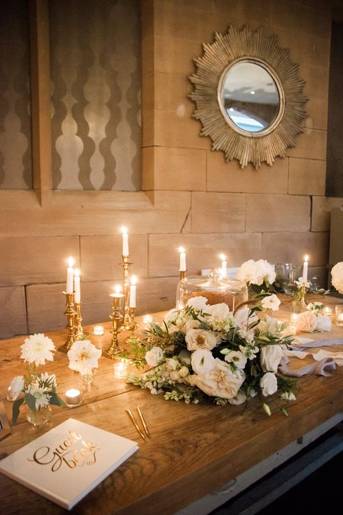 Candle Light Guest Book Table | Elegant Hampton Manor Wedding with Floral Decor | Xander & Thea Fine Art Wedding Photography