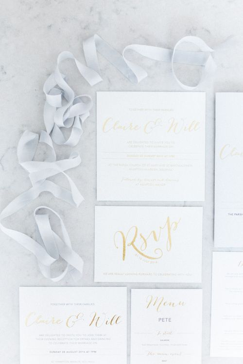 Gold Foil Wedding Stationery | Elegant Hampton Manor Wedding with Floral Decor | Xander & Thea Fine Art Wedding Photography