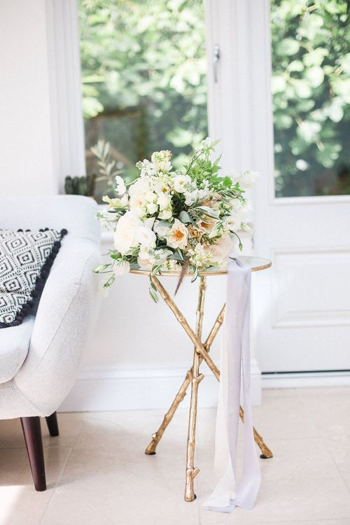 Romantic White & Peach Wedding Bouquet on Gold Legged Table | Elegant Hampton Manor Wedding with Floral Decor | Xander & Thea Fine Art Wedding Photography