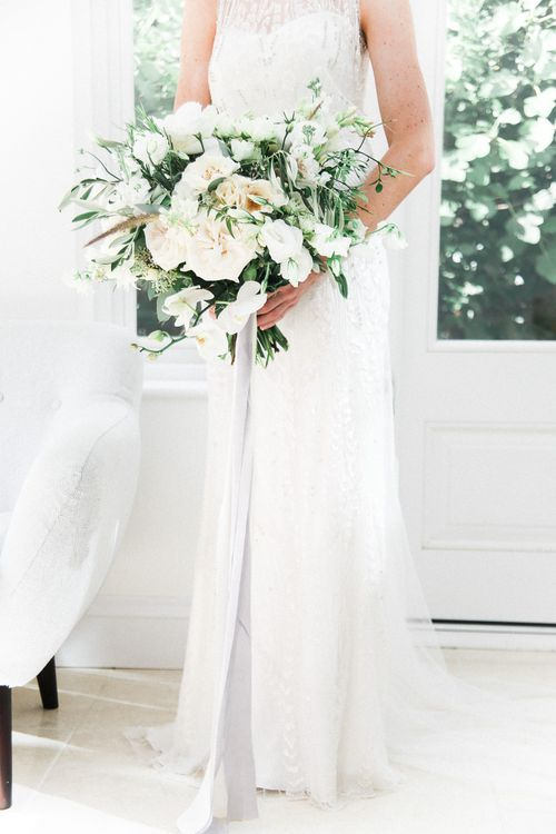 Romantic Wedding Bouquet | Bride in Hermia Jenny Packham Gown | Elegant Hampton Manor Wedding with Floral Decor | Xander & Thea Fine Art Wedding Photography