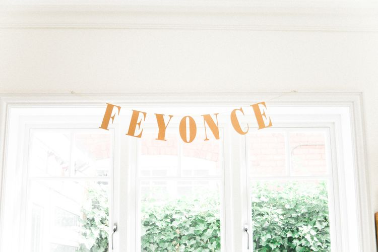 Gold Wedding Bunting | Bride in Hermia Jenny Packham Gown | Elegant Hampton Manor Wedding with Floral Decor | Xander & Thea Fine Art Wedding Photography