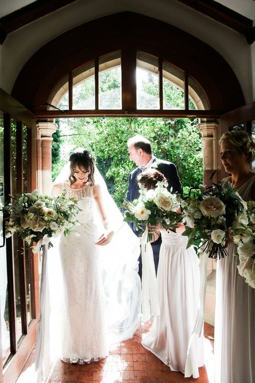 Church Wedding Ceremony | Bride in Hermia Jenny Packham Gown | Elegant Hampton Manor Wedding with Floral Decor | Xander & Thea Fine Art Wedding Photography