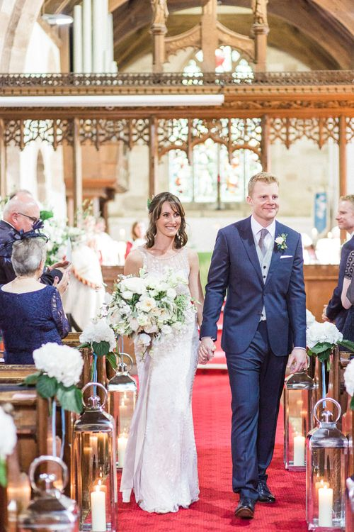 Church Wedding Ceremony | Bride in Hermia Jenny Packham Gown | Groom in Navy Reiss Suit | Elegant Hampton Manor Wedding with Floral Decor | Xander & Thea Fine Art Wedding Photography