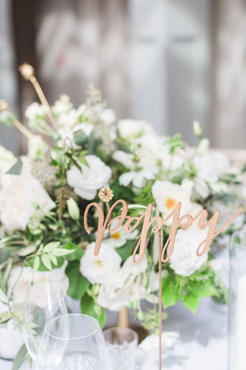 Floral Centrepiece | Church Wedding Ceremony | Bride in Hermia Jenny Packham Gown | Elegant Hampton Manor Wedding with Floral Decor | Xander & Thea Fine Art Wedding Photography