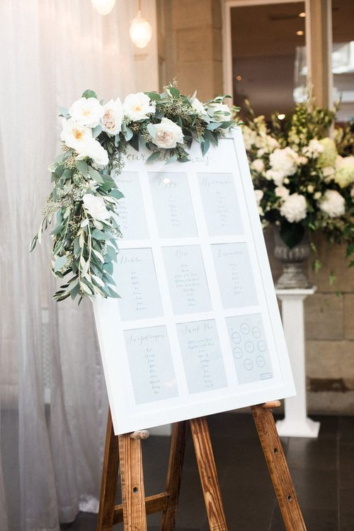 Table Plan with Flower Garland | Elegant Hampton Manor Wedding with Floral Decor | Xander & Thea Fine Art Wedding Photography