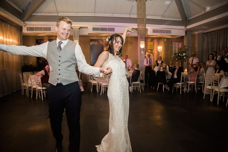 First Dance | Bride in Jenny Packham | Groom in Navy Reiss Suit | Elegant Hampton Manor Wedding with Floral Decor | Xander & Thea Fine Art Wedding Photography