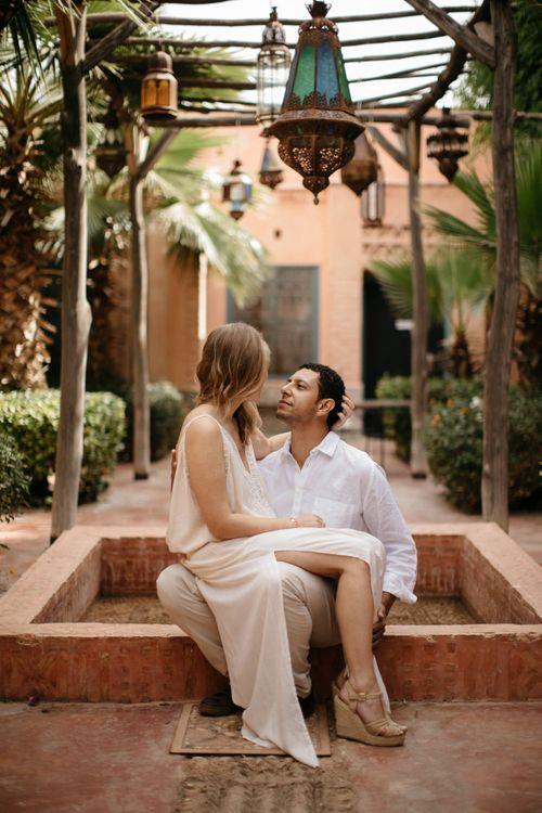 Bride in Celestina Agostino Wedding Dress   Groom in Light Blue Suit   Beldi Hotel, Marrakech Destination Wedding   Lifestories Wedding Photography
