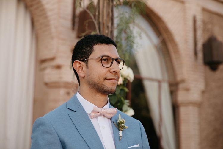 Groom in Light Blue Suit   Beldi Hotel, Marrakech Destination Wedding   Lifestories Wedding Photography