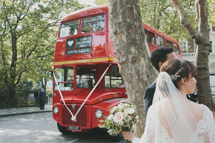 Red Bus transport to wedding reception | Brunswick House | Images by McKinley Rogers