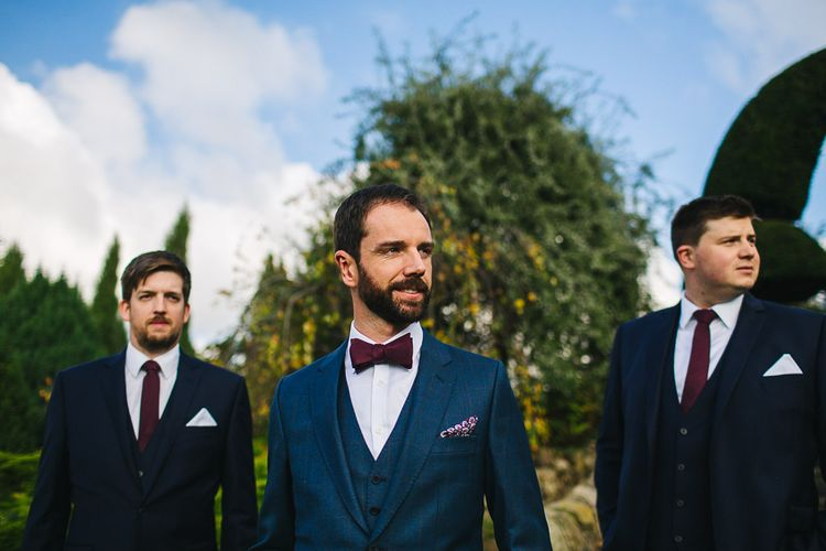 Groom in Bespoke Michelsberg Tailoring Suit & Bow Tie | S6 Photography