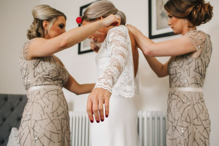 Bride in Charlie Brear Torum Dress & Adrianna Lace Jacket | Bridesmaids in Sequin Adrianna Papell Dresses | Getting Ready | S6 Photography